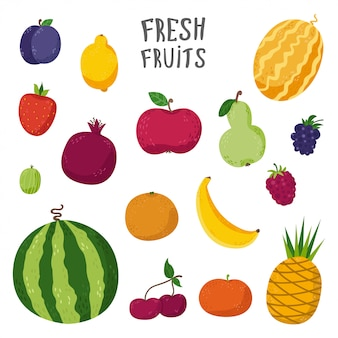 Insieme di frutti in stile cartone animato