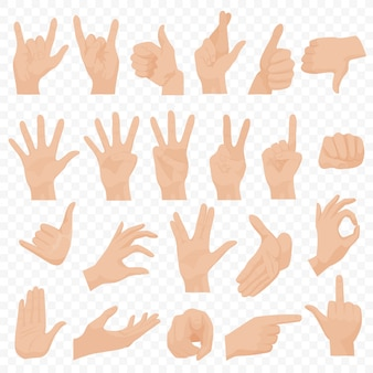 Insieme di gesti di mani umane realistiche