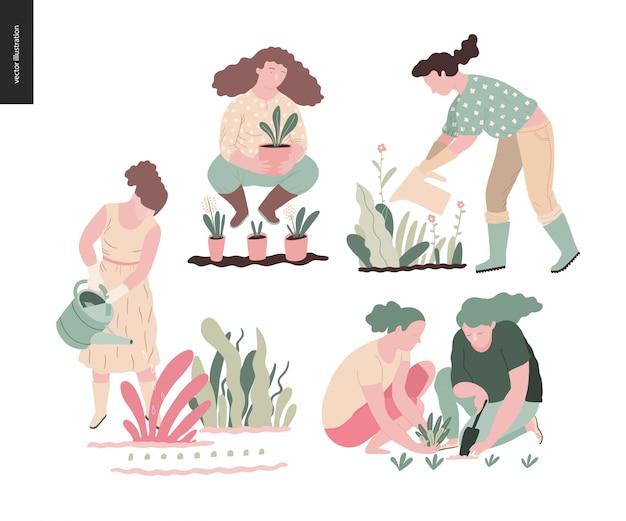Insieme di giardinaggio estate persone