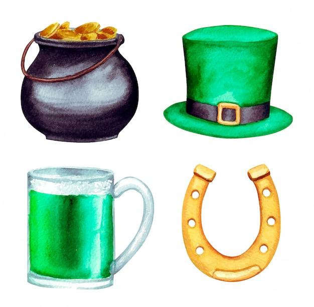 Insieme di giorno dell'acquerello di san patrizio, con ferro di cavallo, pentola d'oro, cappello e birra verde isolato su bianco.
