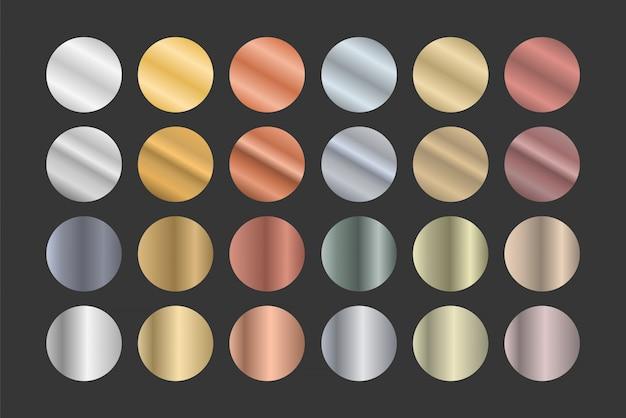 Insieme di gradienti metallici. oro, argento e bronzo.