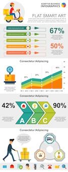Insieme di grafici infographic di concetto di servizio postale e marketing