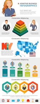 Insieme di grafici infographic di economia aziendale e pianificazione aziendale