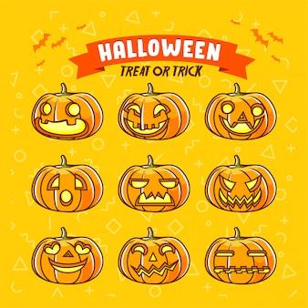 Insieme di halloween del poster di dolcetto o scherzetto personaggio jack o lantern