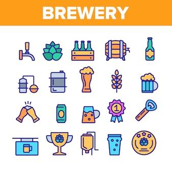 Insieme di icone degli elementi del birrificio della birra