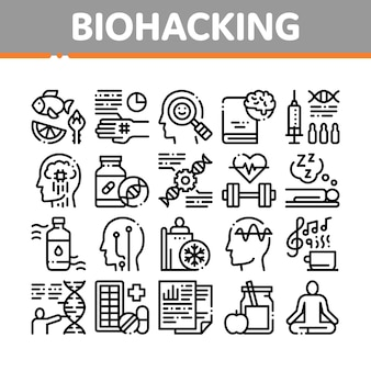 Insieme di icone degli elementi della raccolta di biohacking