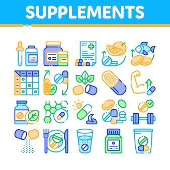 Insieme di icone degli elementi della raccolta di supplementi