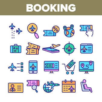 Insieme di icone degli elementi della raccolta di viaggio di prenotazione