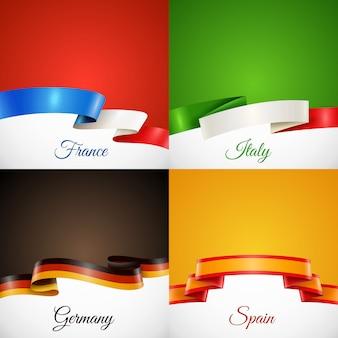 Insieme di icone di concetto del nastro di progettazione della bandiera
