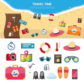 Insieme di icone di concetto di viaggio di vacanze estive
