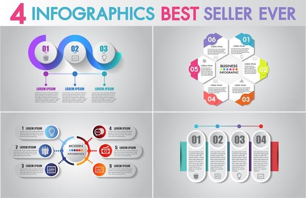 Insieme di icone di design e business marketing di infografica vettoriale.