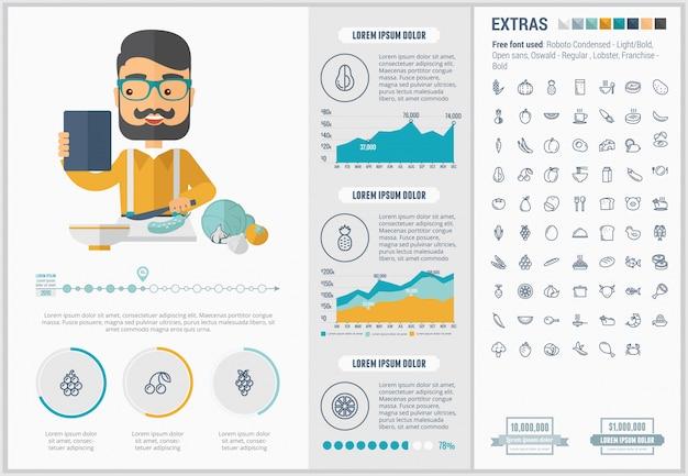 Insieme di icone e modello infographic design piatto di cibo sano