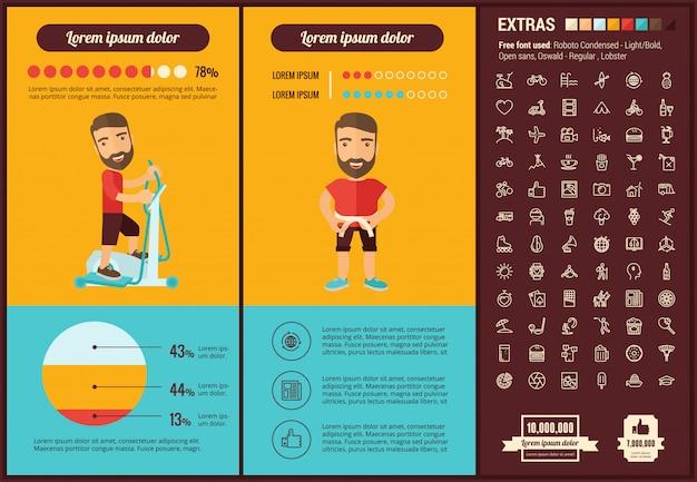 Insieme di icone e modello infographic di design piatto di stile di vita