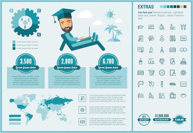 Insieme di icone e modello infographic di educazione design piatto