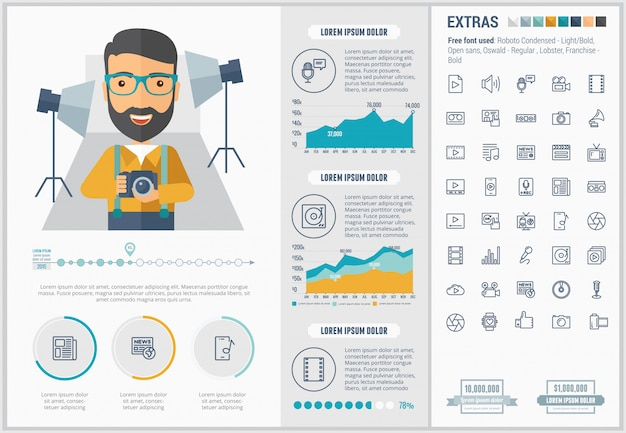 Insieme di icone e modello infographic di media design piatto