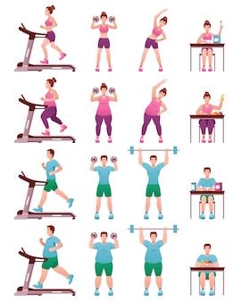 Insieme di icone grasso slim fitness persone