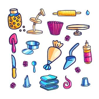 Insieme di illustrazioni a colori disegnato a mano degli strumenti di decorazione della torta