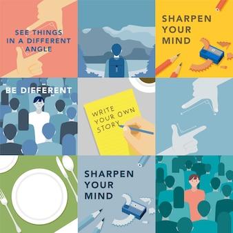 Insieme di illustrazioni che esplorano il concetto di valori umani