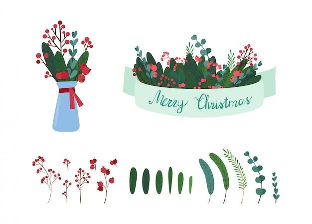 Insieme di illustrazioni degli elementi della decorazione botanica dell'albero di vischio