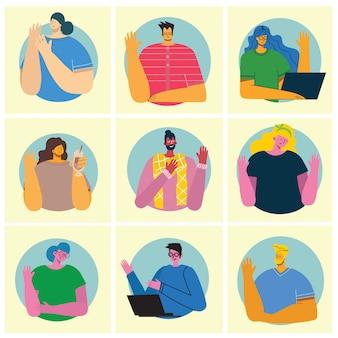 Insieme di illustrazioni di vettore piatto mani agitando la gente. giovani e donne sorridenti nel gesto di saluto dell'abbigliamento casual ciao nello stile piano