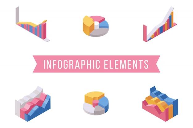 Insieme di illustrazioni isometriche degli elementi infographic di affari