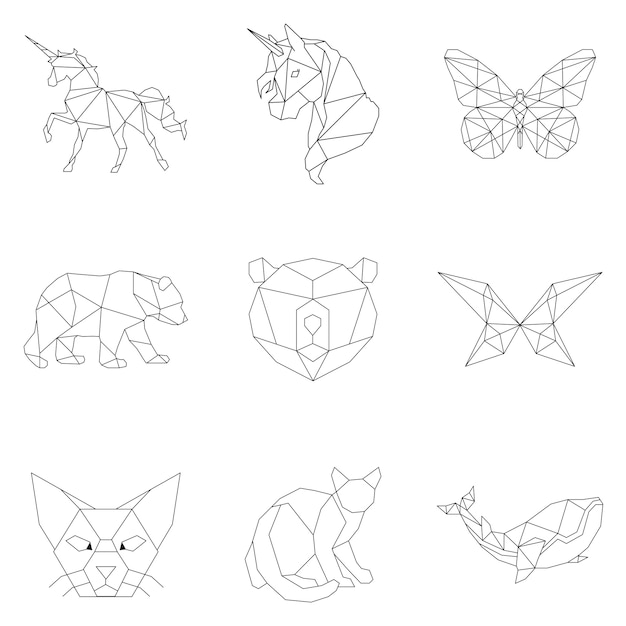 Insieme di illustrazioni lineari animali