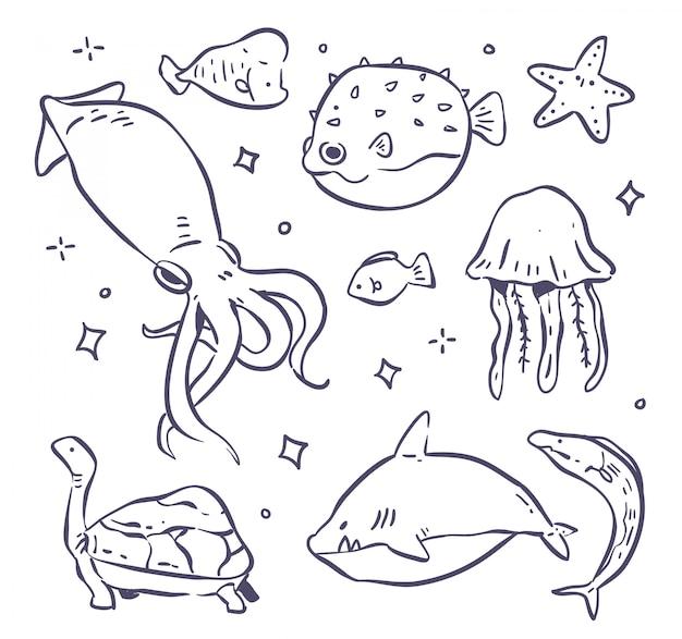 Insieme di illutration di doodle del mare degli animali
