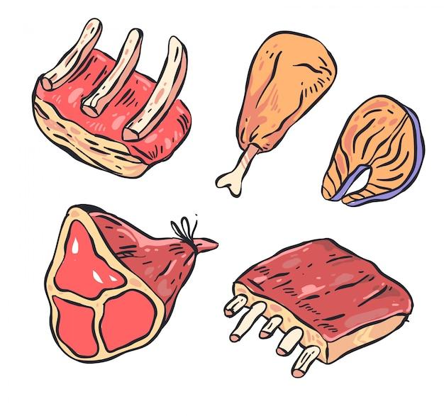 Insieme di illutration di doodle di carne