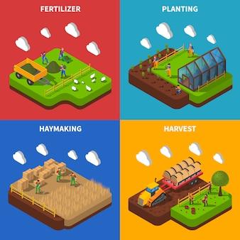 Insieme di immagine di vettore concetto isometrica farmer