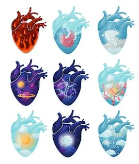 Insieme di immagini di fenomeni naturali all'interno del cuore. fuoco, uragano, temporale, cosmo, sole, luna, sakura, pioggia. illustrazione vettoriale