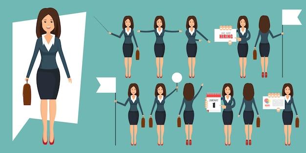 Insieme di imprenditori nell'illustrazione di posizioni diverse in stile piano