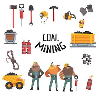 Insieme di industria carboniera, minatori funzionanti, trasporto, illustrazione dell'attrezzatura e degli strumenti del minatore
