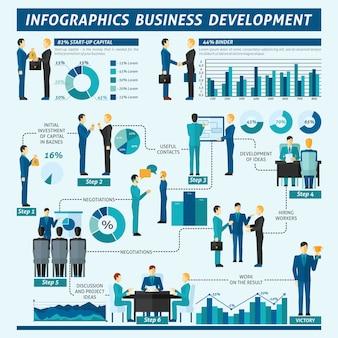 Insieme di infographics degli uomini d'affari