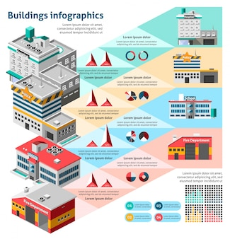 Insieme di infographics di edifici