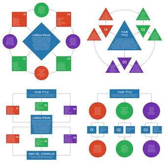 Insieme di infographics di vettore del diagramma di flusso dei diagrammi di gerarchia