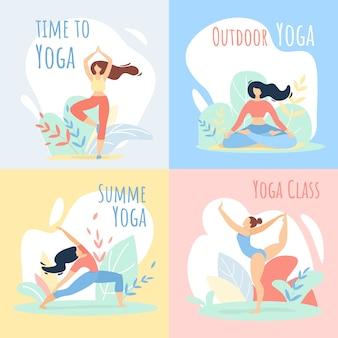 Insieme di insegne di attività sportive di classe di yoga di ora legale all'aperto