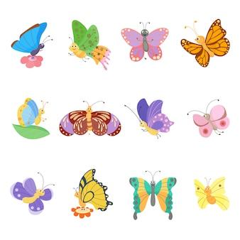 Insieme di insetti di stile piano di farfalle colorate