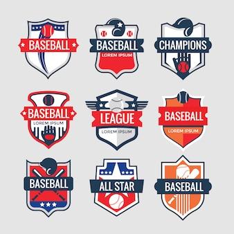 Insieme di logo del distintivo di sport di baseball