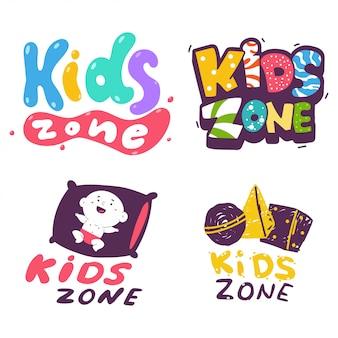 Insieme di logo del fumetto di vettore di zona bambini isolato.