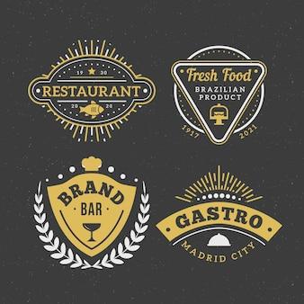 Insieme di logo del marchio vintage ristorante
