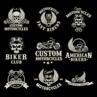 Insieme di logo del negozio di moto