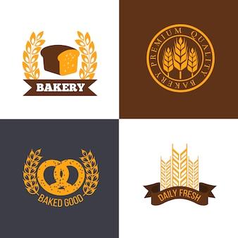 Insieme di logo del negozio di panetteria e pane
