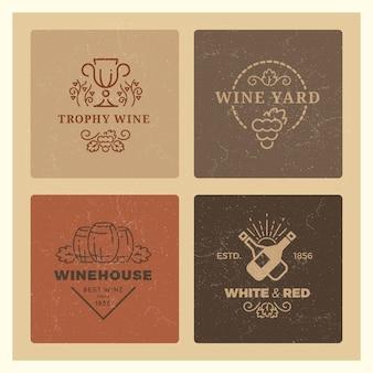 Insieme di logo del vino di lerciume. emblemi di vettore di vino vintage hipster