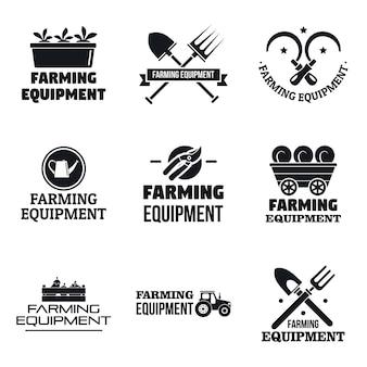Insieme di logo dell'attrezzatura del giardino dell'azienda agricola