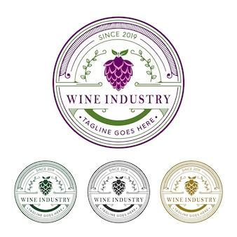 Insieme di logo dell'industria vinicola