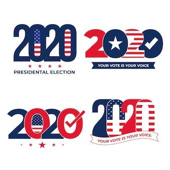 Insieme di logo delle elezioni presidenziali americane 2020