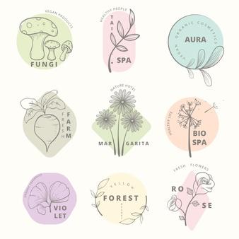 Insieme di logo di affari naturali minimo