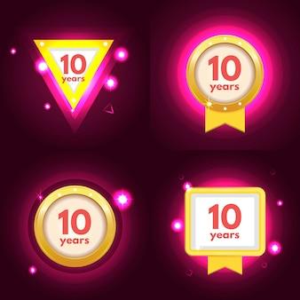 Insieme di logo di anniversario dieci
