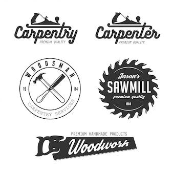 Insieme di logo di carpenteria