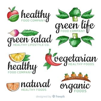 Insieme di logo di cibo sano dell'acquerello